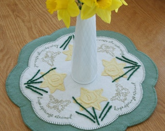 Hope Springs Eternal Penny Rug, limited edition art, candle mat, table topper, daffodil, easter decor, get well soon, proverb, mothers day