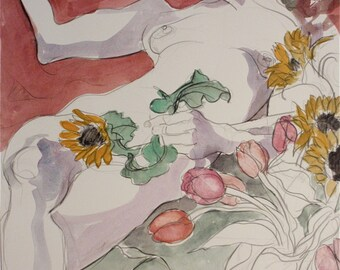 "Fine Art, Drawing/Painting in Watercolor Paints and Pencils: ""Nude with Tulips and Sunflowers"