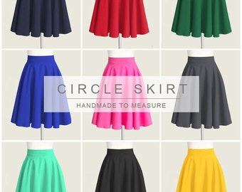 12 colors - fully lined circle skirt - custom size length color in tan red black blue green navy for your wedding bridesmaids everyday look