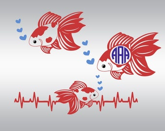 Fish svg, Fish clipart, Fish silhouette, Gold fish svg, Heartbeat svg, Sea life svg, Sea fish svg, Cricut, Cameo, Svg, DXF, Png, Pdf, Eps