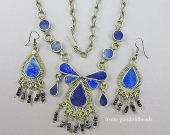 Vintage Lapis Necklace And Earrings Set Ethnic Jewelry Lapis Jewelry Silver Tone Metal Vintage Jewellery