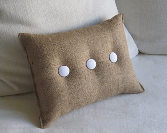 Burlap Pillow with white organic cotton duck buttons