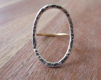 Open Circle Ring, Oval Ring, Sterling Silver and Gold Ring, Hammered Silver Ring, Mixed Metal Ring, Bohemian Jewelry, Unique Ring for her