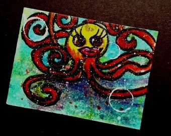ACEO Card original painting Fish aceo Underwater Series 1 Limited Edition 5 of 6 Christian Art cast FREE SHIPPING artbyevelynmarie