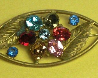 Brooch (184) multicolor flower Crystal, the 1940s