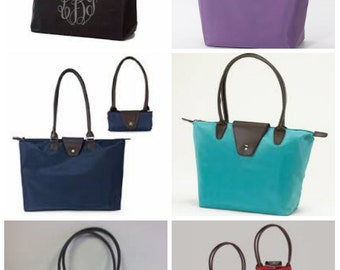 Monogrammed Tote - Long Champ Inspired Folding Tote