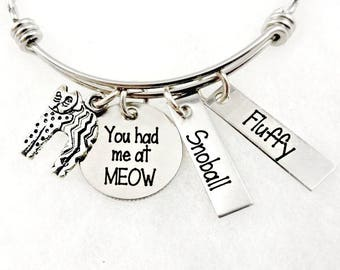 CAT Lover Bracelet- You Had Me At Meow  Bangle Bracelet or Necklace - Cat Lady Jewelry