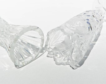 Two Lead Crystal Bud Vases - Clear - Frosted Cherries Pattern - Scalloped Edge - Footed - Small Tiny Stem Vases - Set Of Two