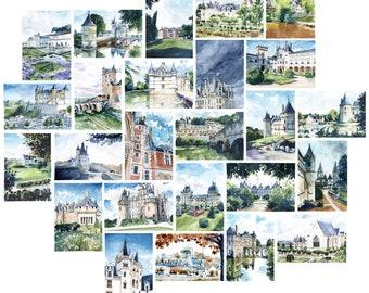 Map postcard of the Loire castles, watercolor Castle of Loire, cards, Valley of the Loire, France Architecture, gift idea