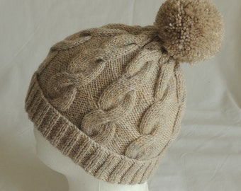 Men's, / Women's Bobble Hat  Hand Knitted, Oatmeal, Cable Pattern Beanie. To Fit Average Head Size.
