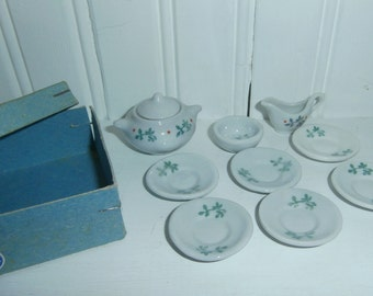 Vintage Germany miniature child's doll house toy tea set pieces creamer sugar cup saucers original box