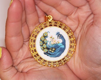 Hand Embroidered Necklace. Petit point embroidery. Peacock pendant. Round pendant. Gold pendant Jewelry Gift for her. Unique textile jewelry