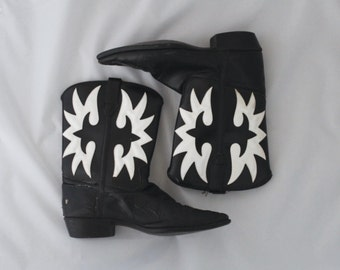 Vintage Black and White Mid Calf Cowboy Boots / Vintage Cowboy Boots / Size 7 Cowboy Boots / Mid Calf Black Leather Cowboy Boots size 7.5