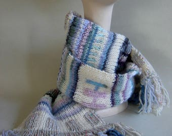 Hand knit mixed yarn scarf long and cozy