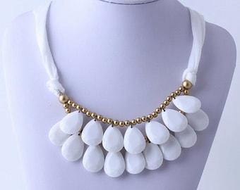 Anthropologie White Necklace, Bib Necklace, White Statement Necklace, Teardrop Necklace, Statement Necklace