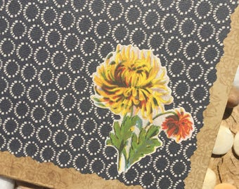 Retro Yellow and Orange Floral Altered Composition Notebook