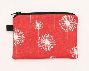 Floral Coin Purse, Small Red Wallet, Padded Fabric Zipper Pouch, Handmade Mini Zipper Bag - coral red and white dandelions