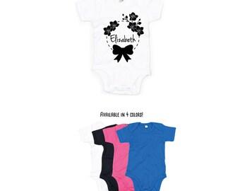 Baby girl romper, personalized romper, name romper, flower romper, baby birthday romper, customizable girl romper, bow romper, cute romper
