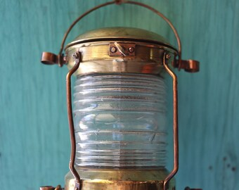 SALE Brass Lantern, Beach Decor, Nautical, Vintage, Restored by SEASTYLE