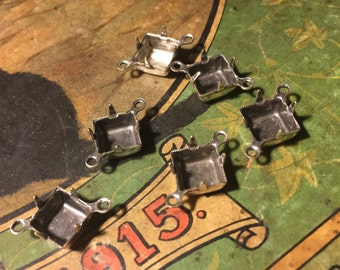 8x8 Vintage Antiqued Silver Square Settings