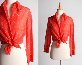 Vintage Ruby Red Polka Dot Button Up - Oxford Dots Top Blouse Shirt Long Sleeve Retro White 1970's 70's Country - Size Medium