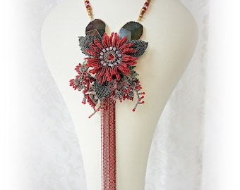Red Gerbera Bouquet, Beaded Necklace, Bead Embroidered, Bead Woven Necklace, Statement Necklace, Red, Flower Necklace