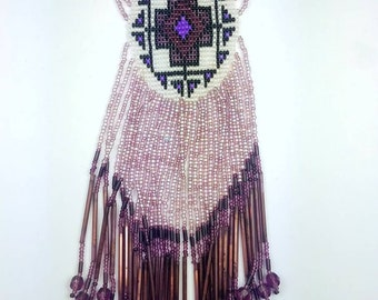 Vintage Native American Handmade Beaded Necklace by Lee Hutchings