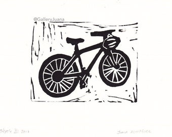 Bicycle linocut, Black