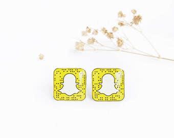 Snapchat earrings , Snapchat studs , Snapchat lover gift , Snapchat jewelry , Snapchat gift idea , Selfie earrings , Snapchat fan gift