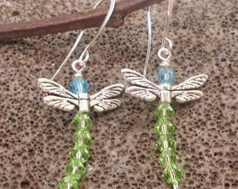Green Dragonfly Crystal Earrings - Dragonflies, Crystal Earrings, New Beginnings, Change