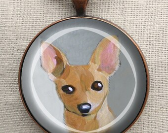 Chihuahua Keychain ~ Mini Painting ~ Dog Keychain ~ Chihuahua Owner Gift ~ May Birthday ~ Gifts for Her