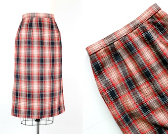 Vintage 1960s plaid skirt . Quick Study . red plaid skirt . plaid wool 60s pencil skirt . md / medium