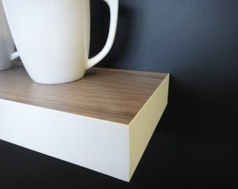Floating shelves - Walnut-White - Modern Shelves - Wall Shelf - Book Shelf - Wood Shelf - set of 3