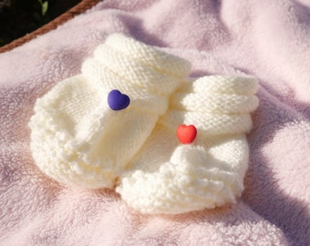 Baby Booties With Hearts Handmade Crochet / Knitted Baby Booties / Baby Slippers