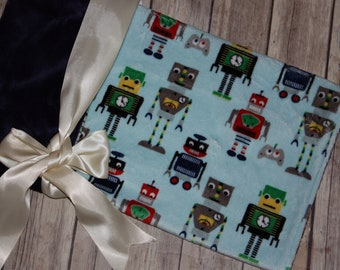 Ready to Ship- Minky Blanket - Robots - Baby Blue, Dark Blue-20x22 - Security blanket