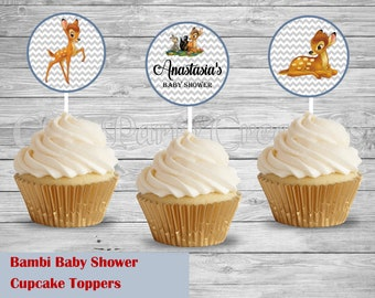 Bambi Baby Shower/Happy Birthday Cupcake Toppers, Bambi Favors