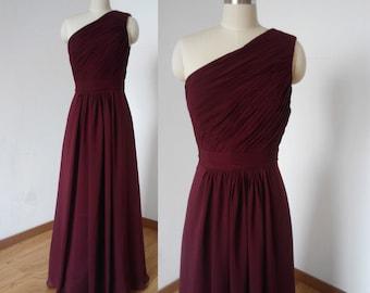 One-shoulder Burgundy Chiffon Long Bridesmaid Dress