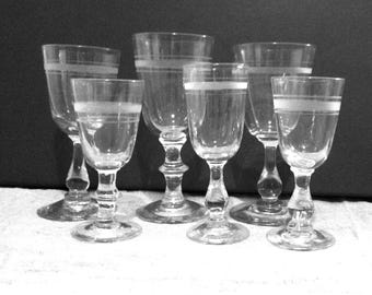 Six Swedish antique glasses in different sizes. Sherry liqueur snaps. So called Rydberg Glass. Hand blown with puntelmärke. Very good cond