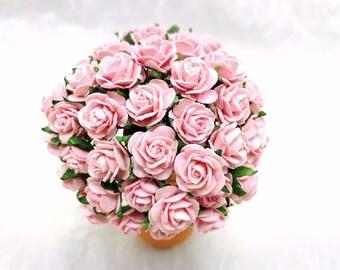 50 pcs. Rose Mulberry Paper Flower Craft Handmade Wedding 15 mm Scrapbook #121