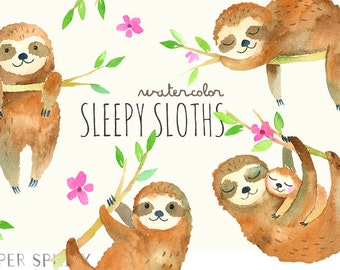 Sleepy Sloths Clipart   Baby Watercolor Sloth Clip Art - Mommy and Baby Sloth with Flowers, Watercolor Animals - Instant Download PNG files