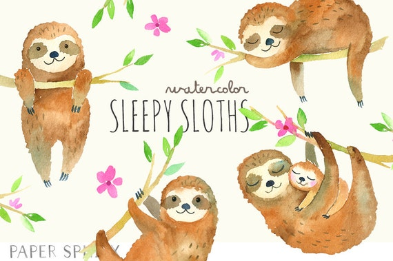 Sleepy Sloths Clipart Baby Watercolor Sloth Clip Art Mommy