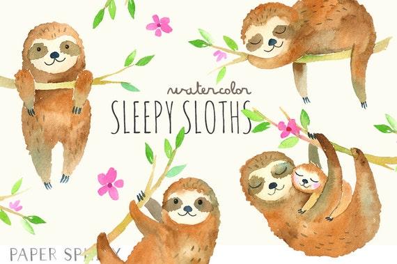 Sleepy Sloths Clipart Baby Watercolor Sloth Clip Art Mommy