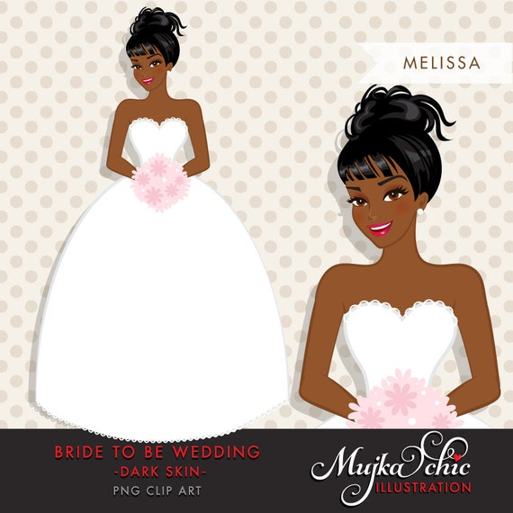 African American Dark Skin Bride Clipart Bride To Be Wedding