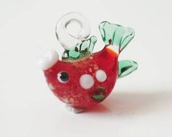1 x red/green 20mm fish keychain
