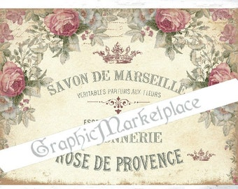 Soap Label Rose de Provence Savon Marseille French Large Image Download Vintage Transfer Fabric digital collage sheet printable No. 405