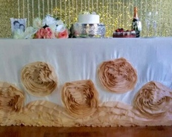 Champagne Rosette Floral Tablecloth, Rose Tablecloth