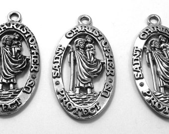 Three Pewter Saint Christopher Medals - (3570)