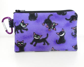 Black Cat Carabiner Coin Purse, Purple Change Purse, Coin Purse with Clip