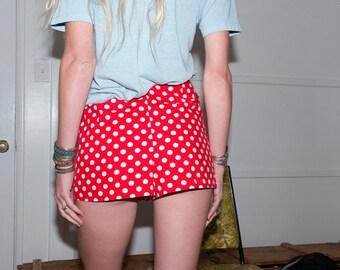 Vintage High Waisted Shorts 23 Waist,Red Polka Dot Shorts,Sears 1960s Shorts,Red Short Shorts,Small X-Small Shorts, Red Shorts, Dot Shorts