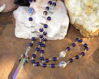 Fairy Lights Pagan Rosary~.925 Sterling Silver~Heated Hematite~Dragon Eye~Titanium Quartz Crystal~Hologram Quartz~Ritual Jewelry